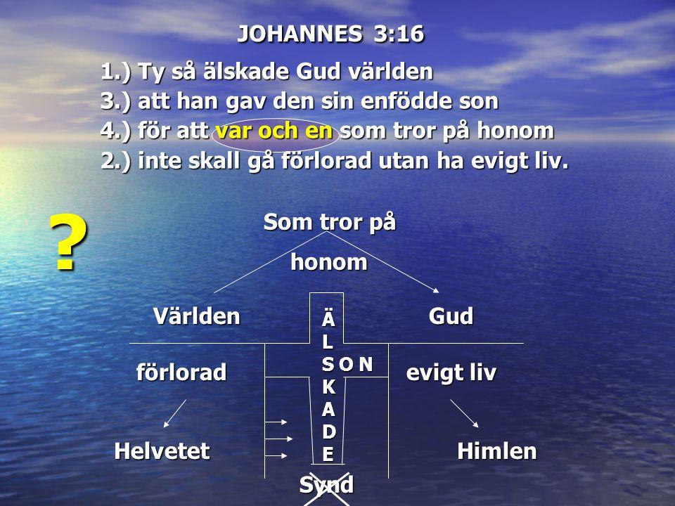 JOHANNES 3:16 1.) Ty så älskade Gud världen