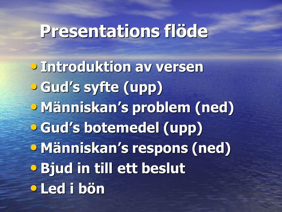 Presentations flöde Introduktion av versen Gud's syfte (upp)