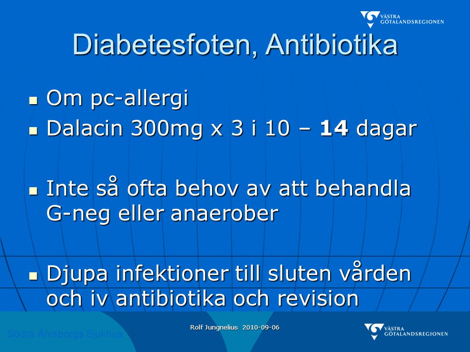Diabetesfoten, Antibiotika