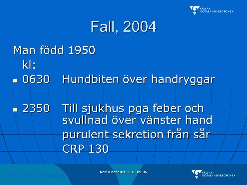 Fall, 2004 Man född 1950 kl: 0630 Hundbiten över handryggar