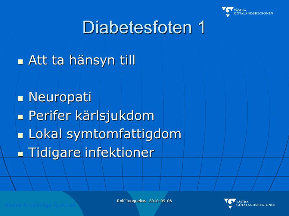 Diabetesfoten 1 Att ta hänsyn till Neuropati Perifer kärlsjukdom