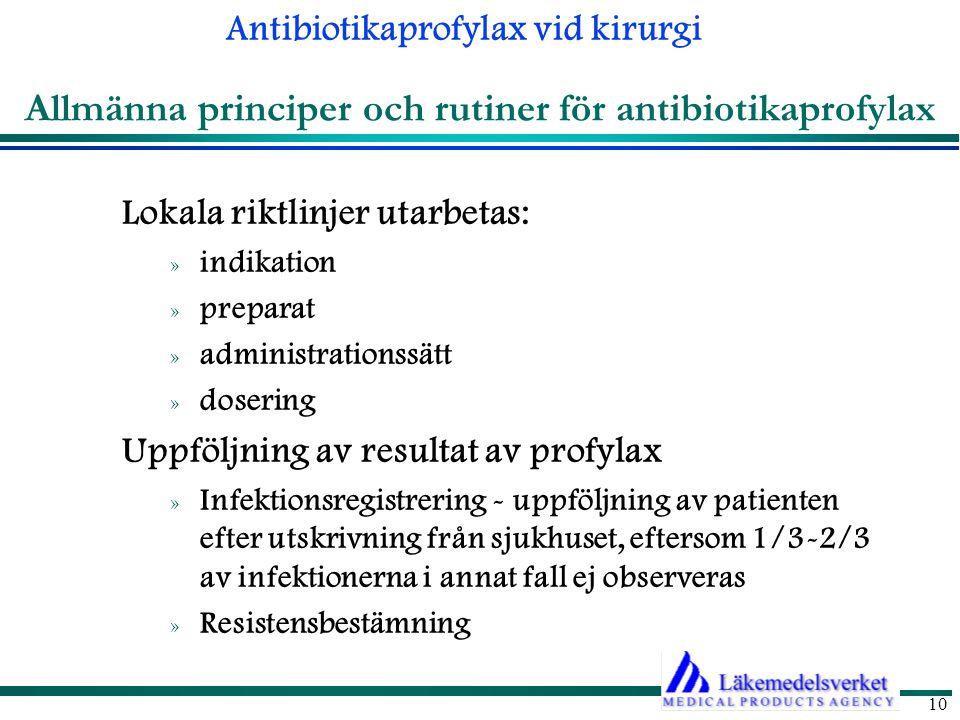Allmänna principer och rutiner för antibiotikaprofylax