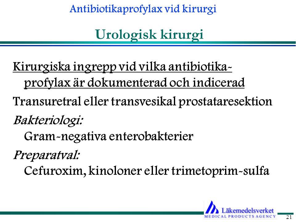 Urologisk kirurgi Kirurgiska ingrepp vid vilka antibiotika- profylax är dokumenterad och indicerad.