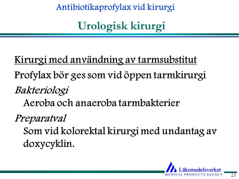 Urologisk kirurgi Kirurgi med användning av tarmsubstitut