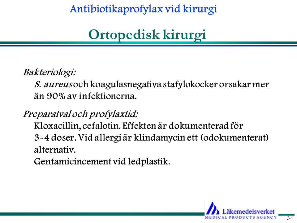 Ortopedisk kirurgi Bakteriologi: S. aureus och koagulasnegativa stafylokocker orsakar mer än 90% av infektionerna.