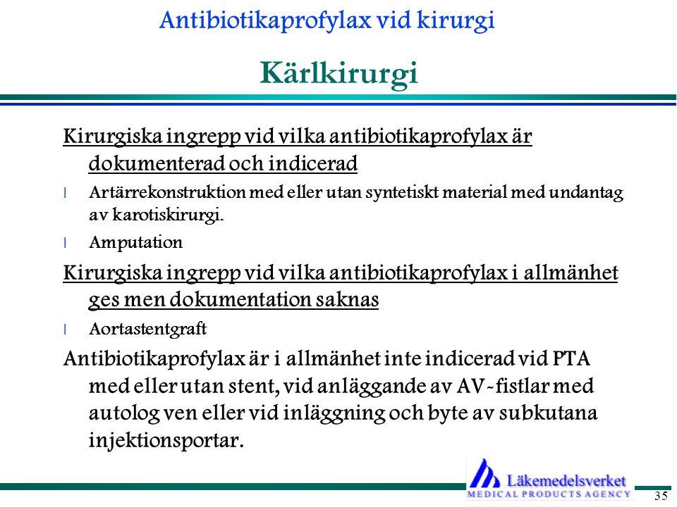 Kärlkirurgi Kirurgiska ingrepp vid vilka antibiotikaprofylax är dokumenterad och indicerad.
