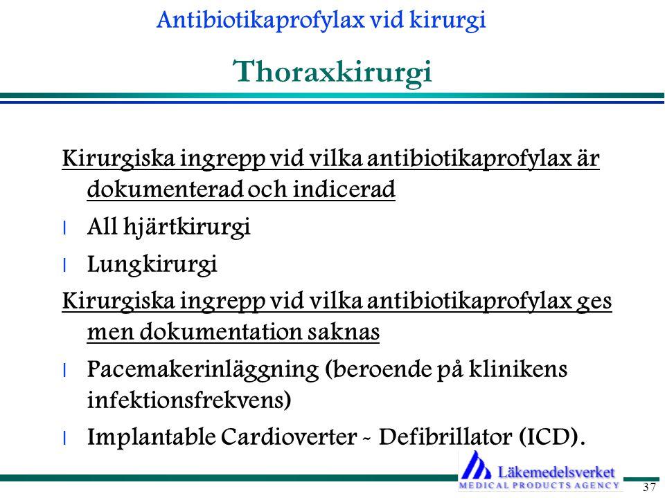 Thoraxkirurgi Kirurgiska ingrepp vid vilka antibiotikaprofylax är dokumenterad och indicerad. All hjärtkirurgi.