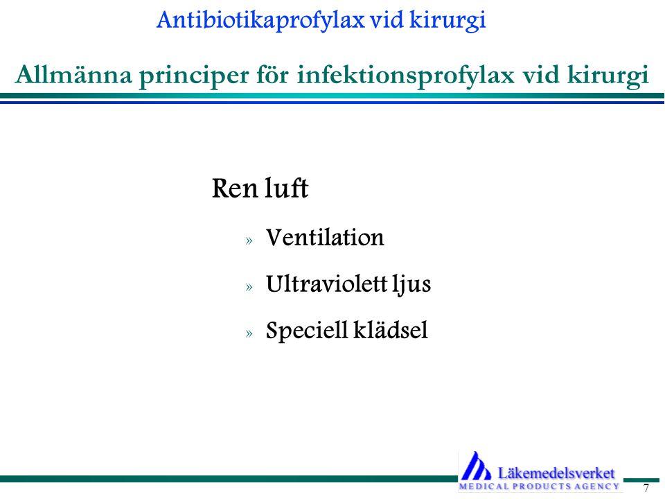 Allmänna principer för infektionsprofylax vid kirurgi