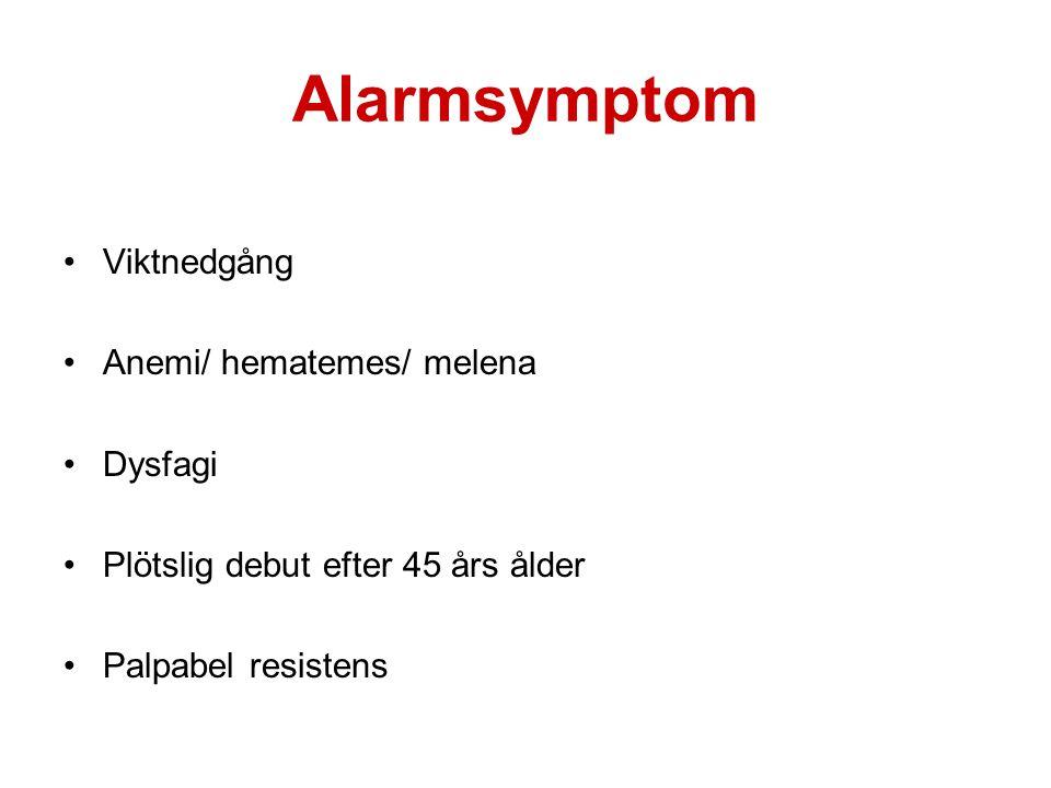 Alarmsymptom Viktnedgång Anemi/ hematemes/ melena Dysfagi