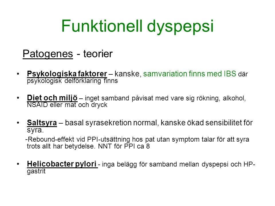 Funktionell dyspepsi Patogenes - teorier