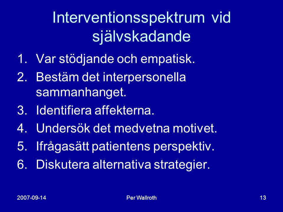 Interventionsspektrum vid självskadande