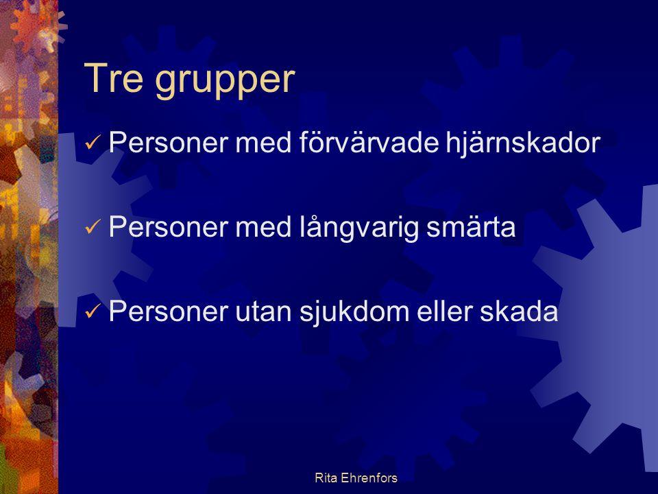 Tre grupper Personer med förvärvade hjärnskador