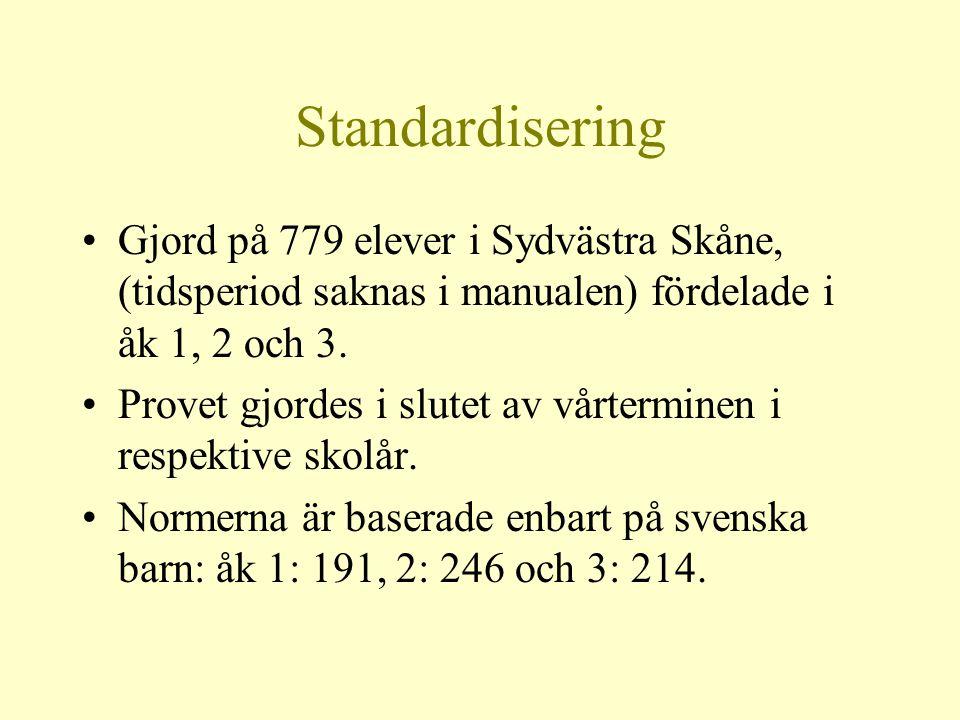 Standardisering Gjord på 779 elever i Sydvästra Skåne, (tidsperiod saknas i manualen) fördelade i åk 1, 2 och 3.