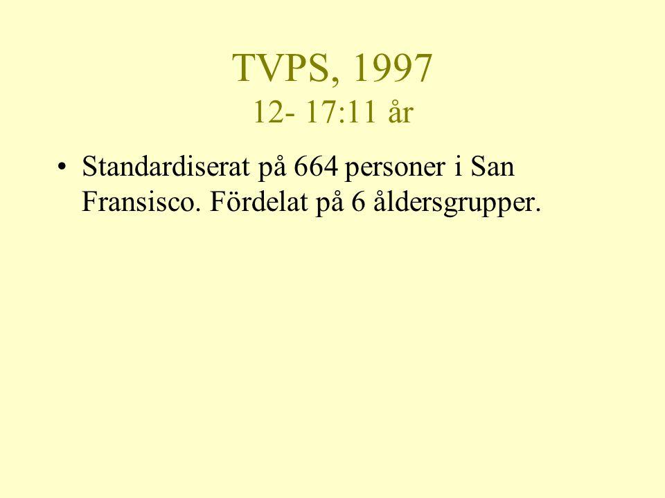 TVPS, 1997 12- 17:11 år Standardiserat på 664 personer i San Fransisco.
