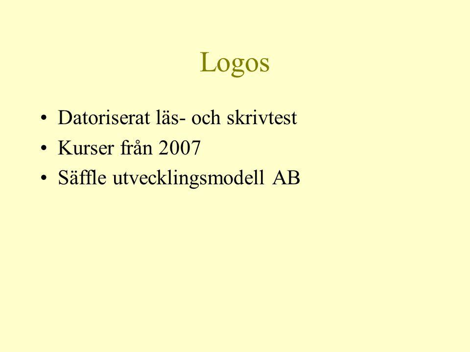 Logos Datoriserat läs- och skrivtest Kurser från 2007