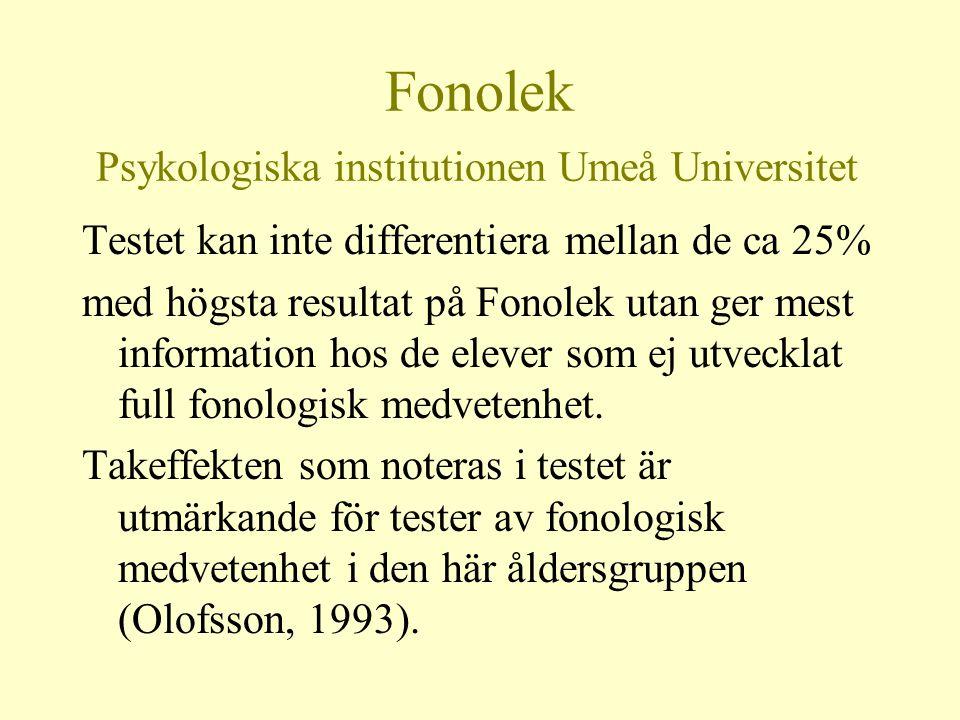 Fonolek Psykologiska institutionen Umeå Universitet