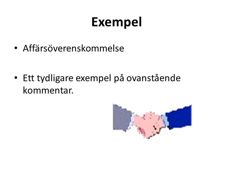 Exempel Affärsöverenskommelse