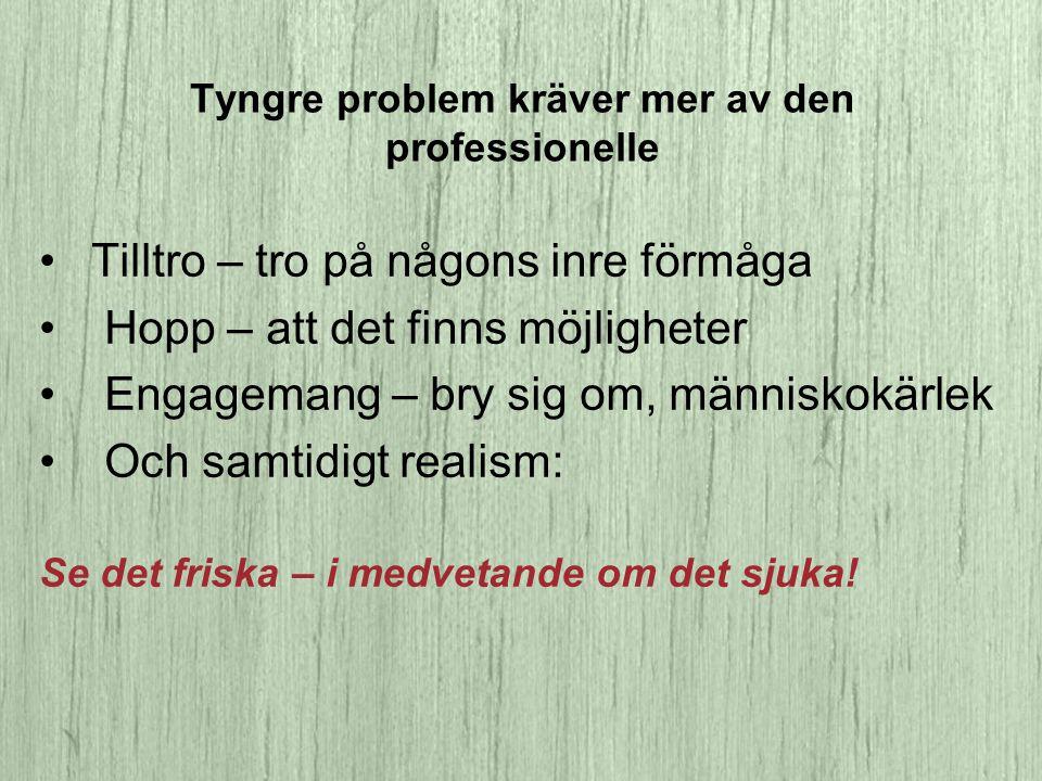 Tyngre problem kräver mer av den professionelle