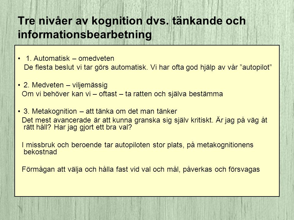 Tre nivåer av kognition dvs. tänkande och informationsbearbetning