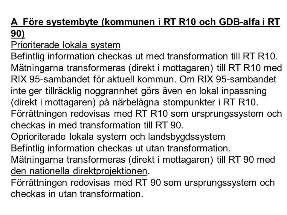 A Före systembyte (kommunen i RT R10 och GDB-alfa i RT 90)
