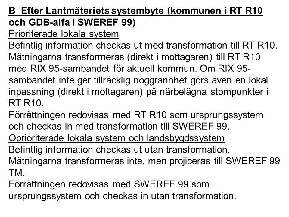 B Efter Lantmäteriets systembyte (kommunen i RT R10 och GDB-alfa i SWEREF 99)