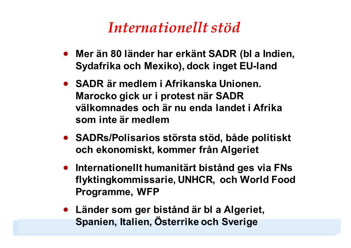 Internationellt stöd Mer än 80 länder har erkänt SADR (bl a Indien, Sydafrika och Mexiko), dock inget EU-land.