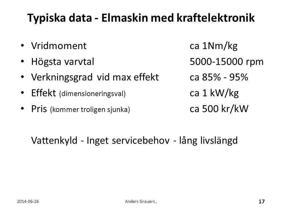 Typiska data - Elmaskin med kraftelektronik