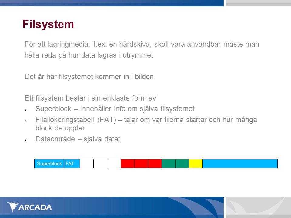 Filsystem För att lagringmedia, t.ex. en hårdskiva, skall vara användbar måste man. hålla reda på hur data lagras i utrymmet.