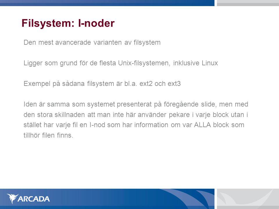 Filsystem: I-noder Den mest avancerade varianten av filsystem