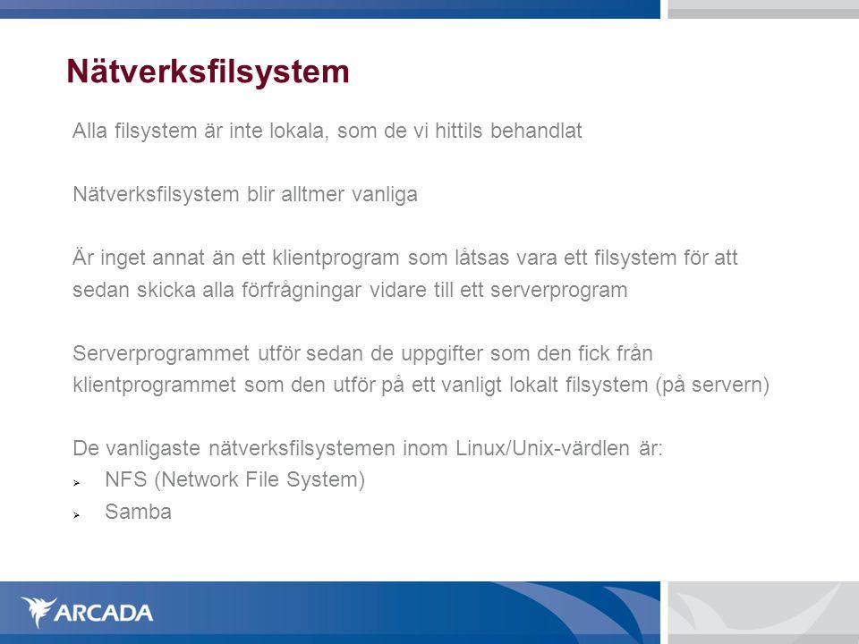 Nätverksfilsystem Alla filsystem är inte lokala, som de vi hittils behandlat. Nätverksfilsystem blir alltmer vanliga.