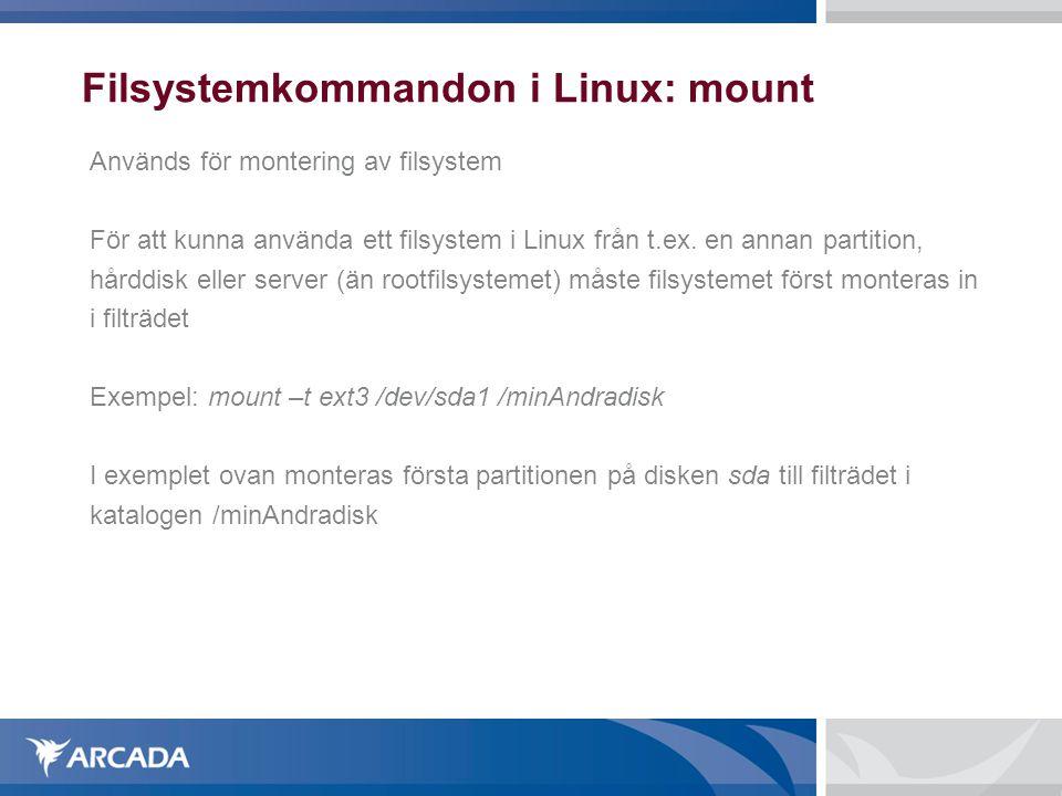 Filsystemkommandon i Linux: mount