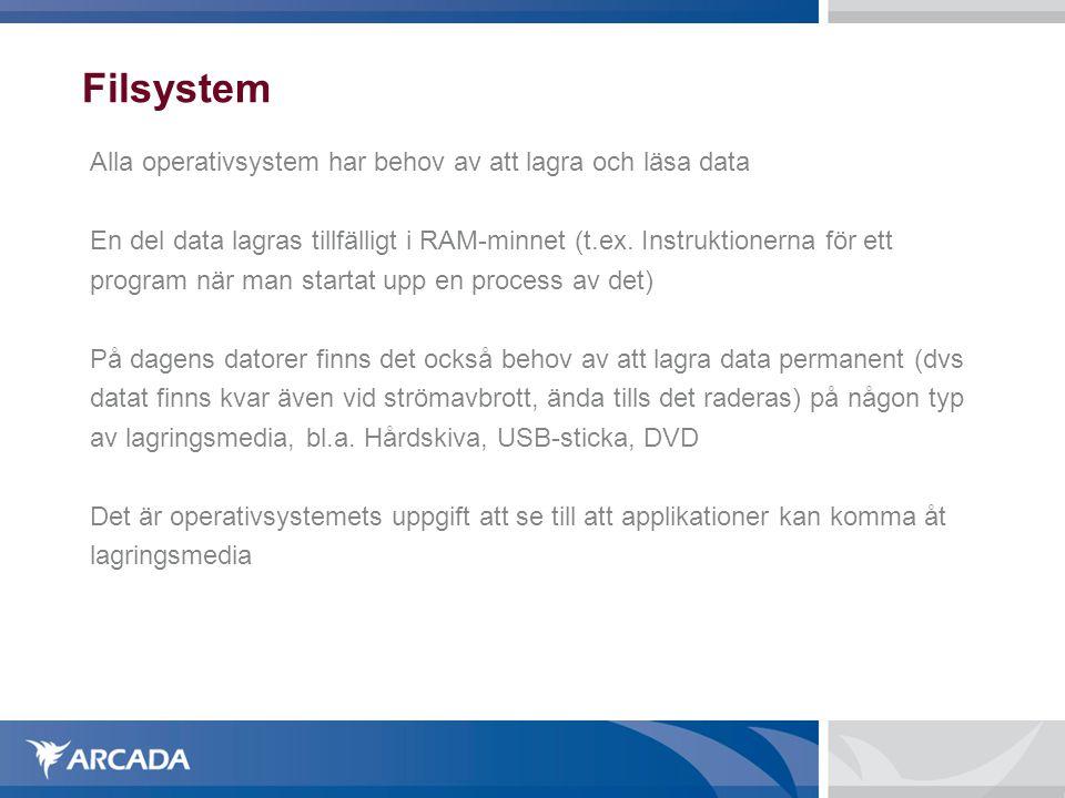 Filsystem Alla operativsystem har behov av att lagra och läsa data