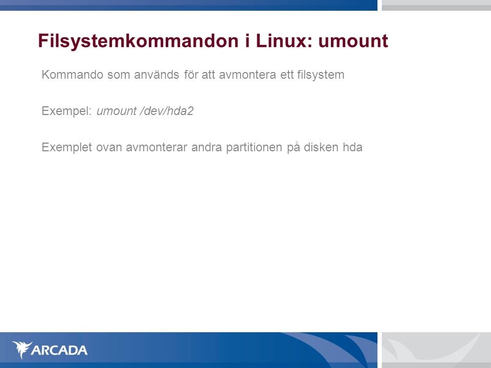 Filsystemkommandon i Linux: umount