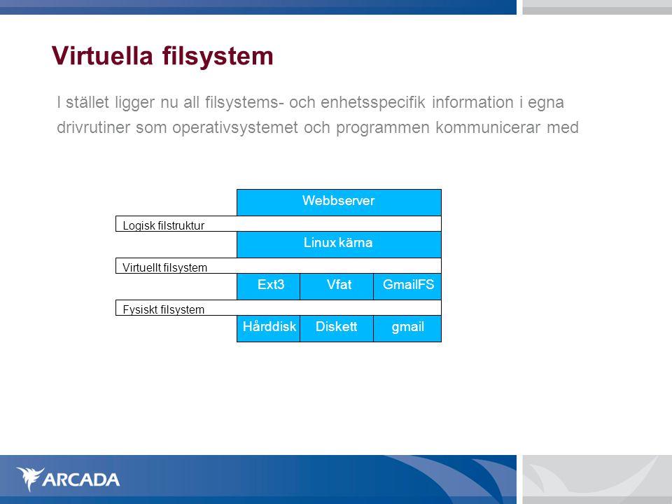 Virtuella filsystem I stället ligger nu all filsystems- och enhetsspecifik information i egna.