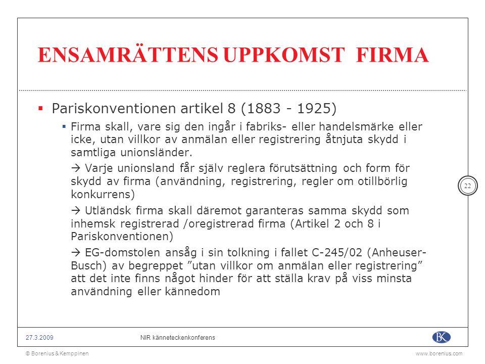 ENSAMRÄTTENS UPPKOMST FIRMA