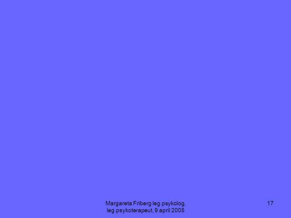 Margareta Friberg leg.psykolog, leg.psykoterapeut, 9 april 2005