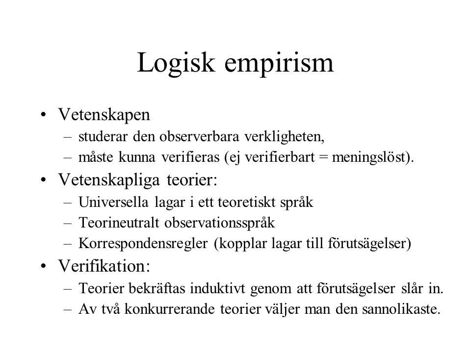 Logisk empirism Vetenskapen Vetenskapliga teorier: Verifikation: