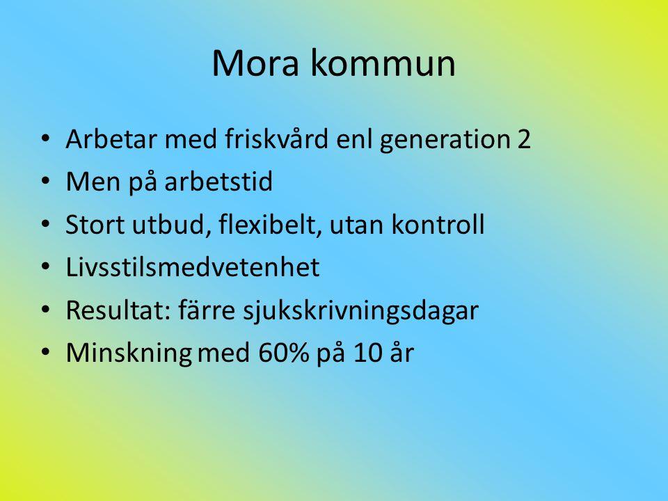 Mora kommun Arbetar med friskvård enl generation 2 Men på arbetstid