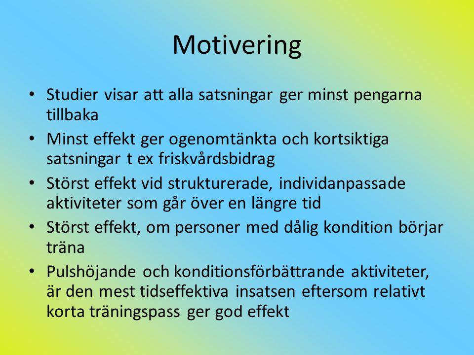 Motivering Studier visar att alla satsningar ger minst pengarna tillbaka.