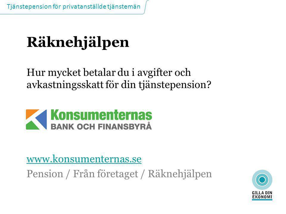 Räknehjälpen Hur mycket betalar du i avgifter och avkastningsskatt för din tjänstepension www.konsumenternas.se.