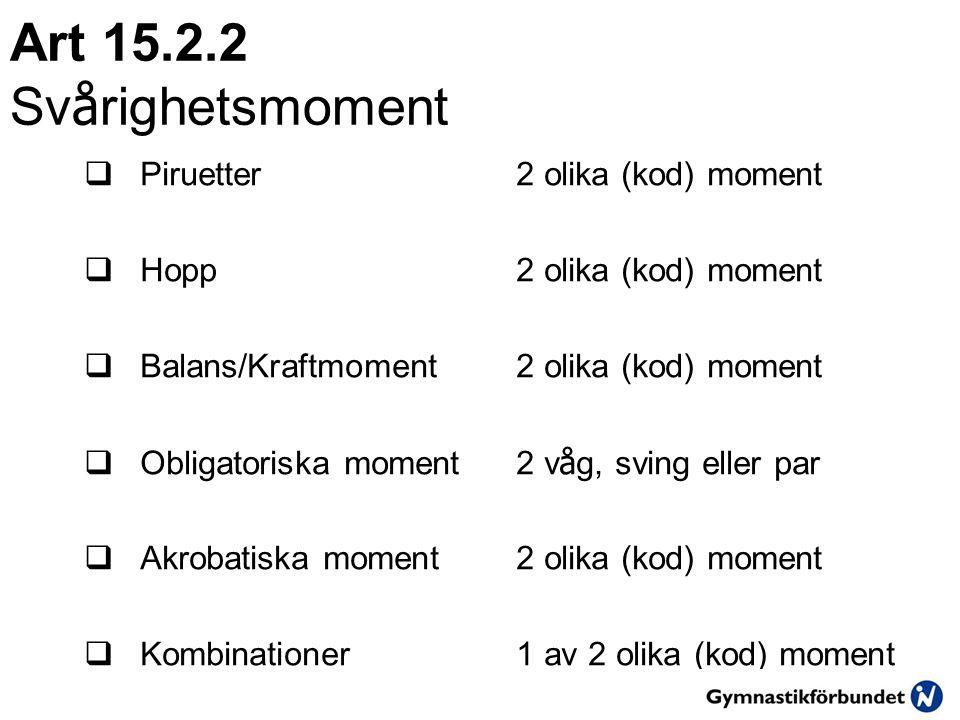 Art 15.2.2 Svårighetsmoment Piruetter 2 olika (kod) moment
