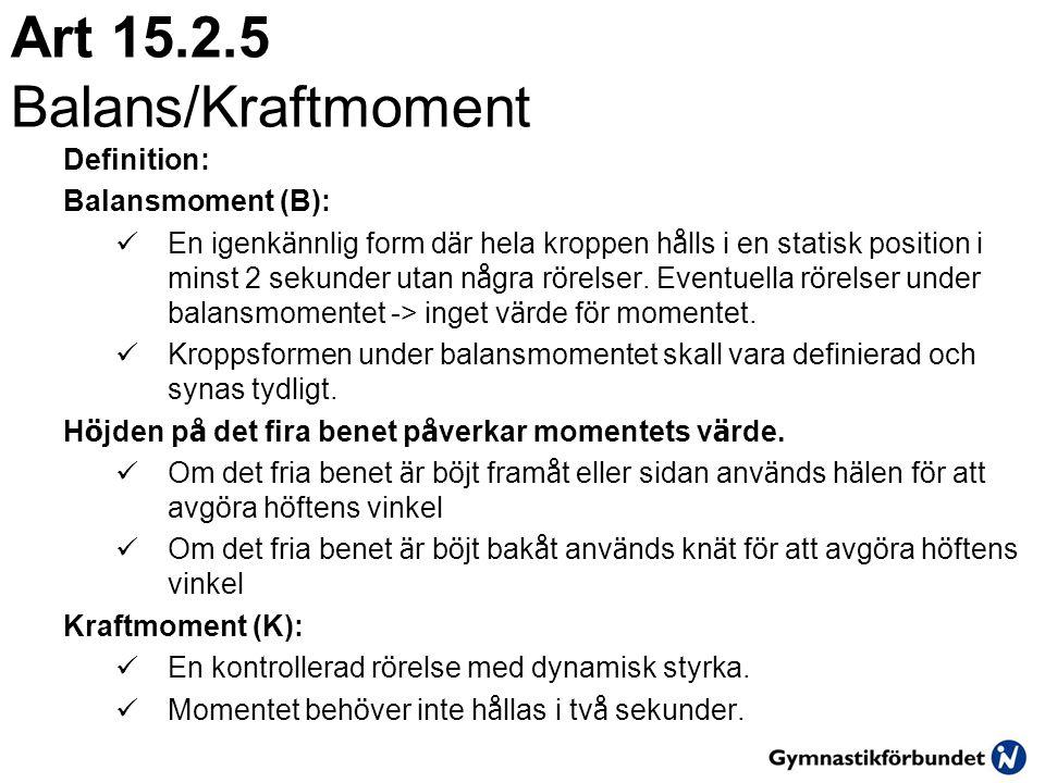 Art 15.2.5 Balans/Kraftmoment