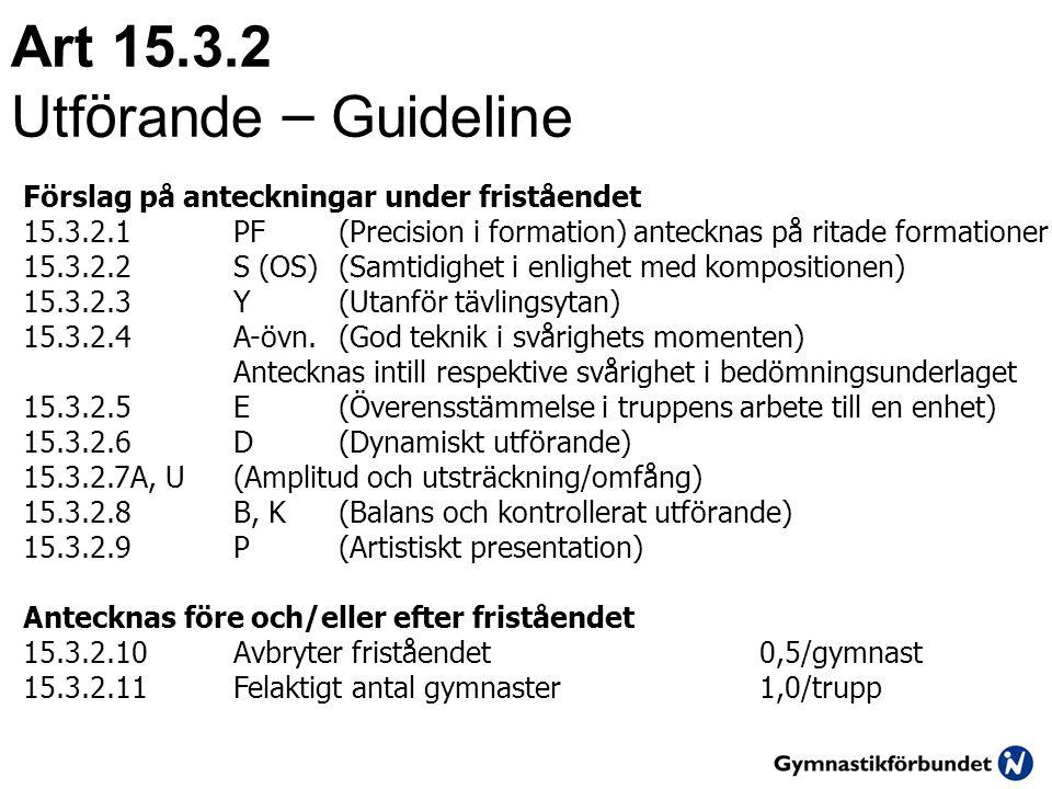 Art 15.3.2 Utförande – Guideline
