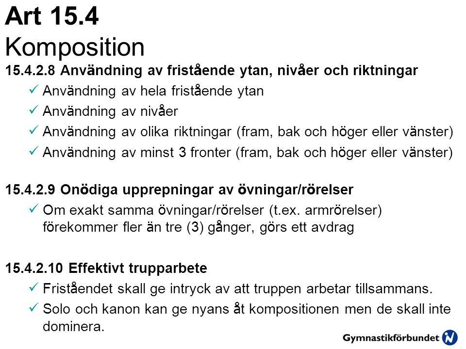 Art 15.4 Komposition 2013. 15.4.2.8 Användning av fristående ytan, nivåer och riktningar. Användning av hela fristående ytan.