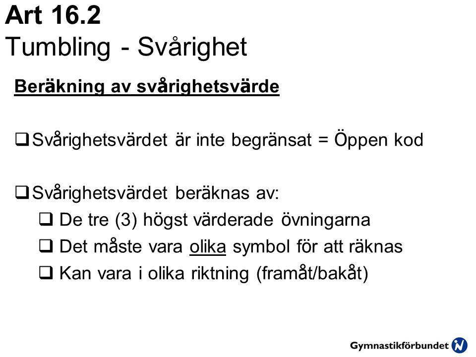 Art 16.2 Tumbling - Svårighet