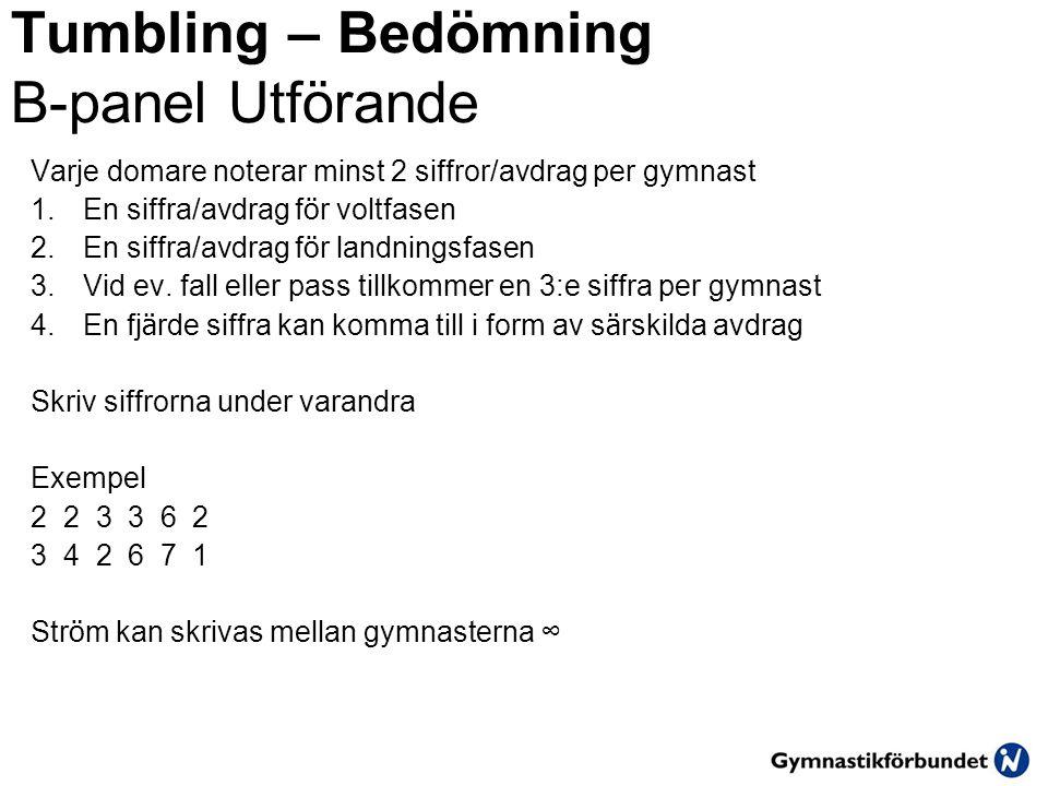 Tumbling – Bedömning B-panel Utförande