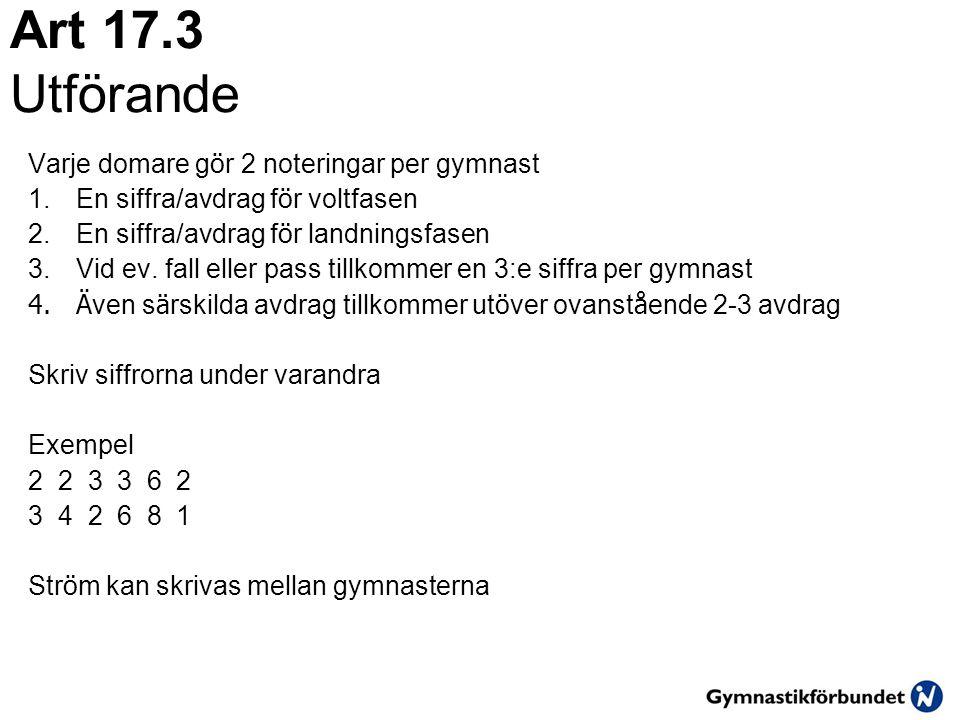 Art 17.3 Utförande Varje domare gör 2 noteringar per gymnast