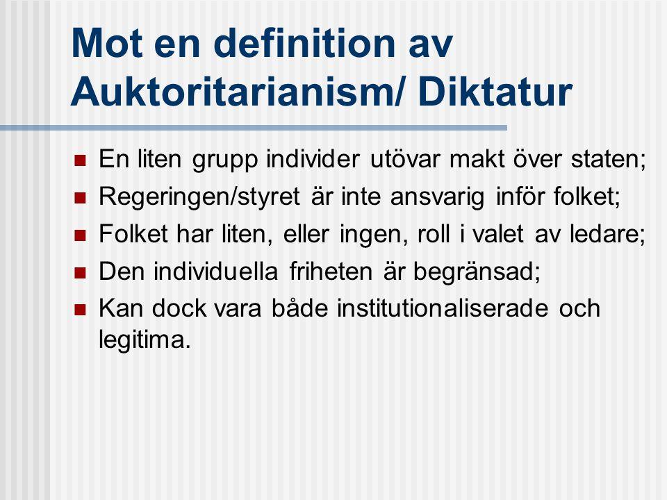 Mot en definition av Auktoritarianism/ Diktatur