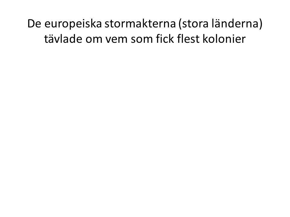 De europeiska stormakterna (stora länderna) tävlade om vem som fick flest kolonier