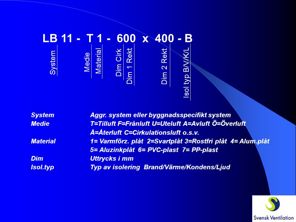 LB 11 - T 1 - 600 x 400 - B System Medie Material Dim Cirk Dim 1 Rekt